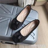 牛津鞋 蝴蝶結黑色方頭女鞋平底軟底單鞋正韓通勤 大碼40 41防滑  『名購居家』