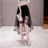 2018新款魚尾裙子修身燕尾半身裙女中長款網紗夏季蕾絲A字百褶裙