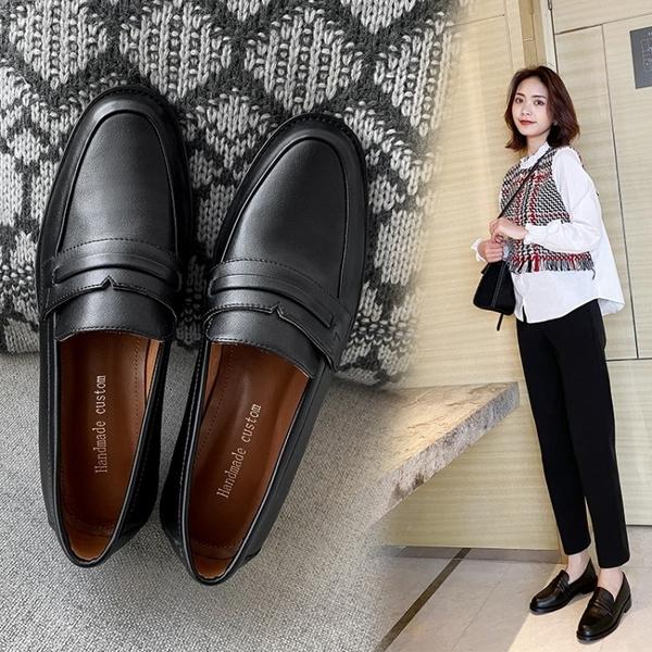 寬楦設計 手工真皮女鞋34~40 2020新款英倫風韓版牛皮圓頭德比鞋 低跟布洛克鞋 小皮鞋 ~黑色