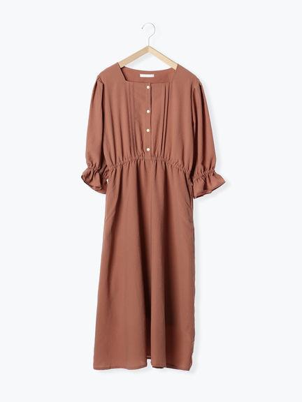 「Summer」方領糖果袖收腰連身洋裝 (提醒 SM2僅單一尺寸) - Sm2