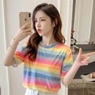 夏季女裝新款時尚短袖條紋T恤韓版原宿風彩虹小眾ins上衣潮「時尚彩紅屋」