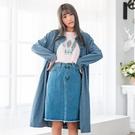 大衣外套--知性優雅排扣口袋寬鬆長版加絨...