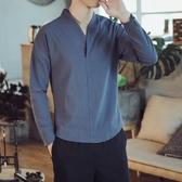 居士服 中國風長袖t恤男復古漢服元素打底衫民族服裝唐裝上衣禪服