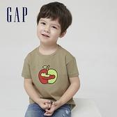 Gap男幼童 Gap x Ken Lo 藝術家聯名系列純棉短袖T恤 854744-深卡其