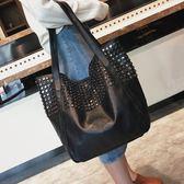 側背包 女包歐美時尚鉚釘單肩包休閒簡約手提購物袋    琉璃美衣