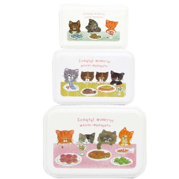 【日本製】【ECOUTE!】貓咪系列 三入組保鮮便當盒 M尺寸 天空藍色(一組:2個) SD-3854 - ecoute!