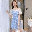 VK精品服飾 韓國風名媛優雅藍格紋顯瘦細肩帶短袖洋裝