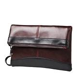 手拿包-折疊紳士商務文件復古男信封包2色73sd37【巴黎精品】