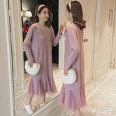 孕婦洋裝 中大尺碼新款韓版寬鬆加絨加厚中長款孕婦連身裙冬季OB1861『伊人雅舍』