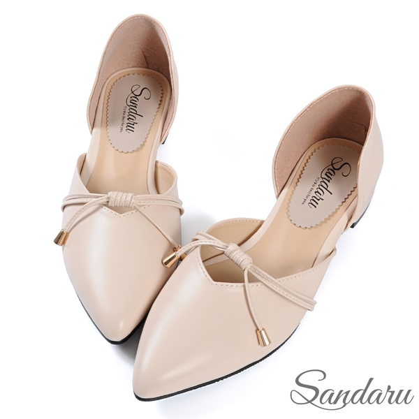 尖頭鞋 日系綁結側簍空低跟鞋-米