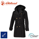 【Wildland 荒野 女 中長防水可脫帽時尚外套《黑》】0A72905/風雨衣/防水外套/大衣