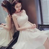 宴會禮服 伴娘服短款新款夏季伴娘團禮服姐妹裙香檳色洋裝小禮服洋裝