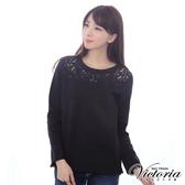 Victoria 蕾絲剪接織帶繡圖長袖T-女