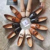 春季新品韓版英倫風單鞋復古樂福鞋粗跟學生百搭方扣小皮鞋女【販衣小築】