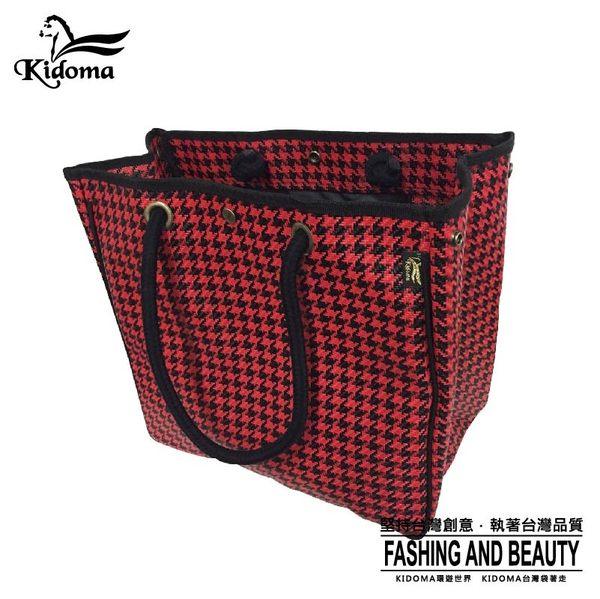 手提袋-超大容量編織海灘袋-黑紅千鳥-010