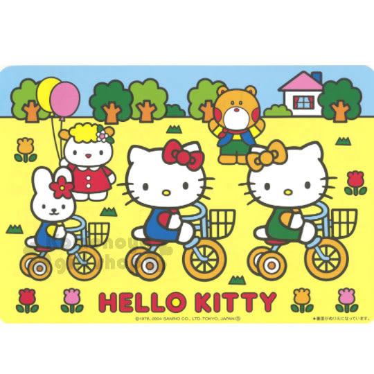 〔小禮堂〕Hello Kitty 日製紙餐墊《4入.黃.Kitty&Mimmy.腳踏車》銅板小物 4950675-15111