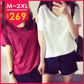 V領竹節棉寬鬆百搭短袖t恤 M~2XL  O-Ker LL82111-C