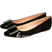 TOD'S 方塊造型麂皮尖頭平底鞋(黑色) 1420241-01