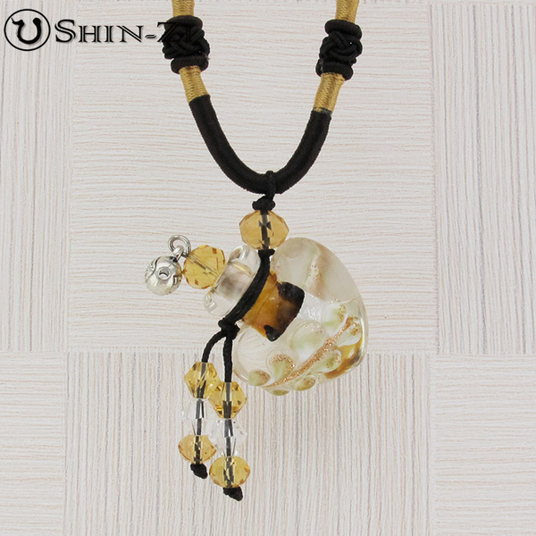 手工項鍊 琉璃項鍊 精油項鍊 中國繩項鍊 心型金葉