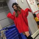 新年紅麻花粗線中長款大紅色毛衣女新款秋冬本命年針織 晟鵬國際貿易