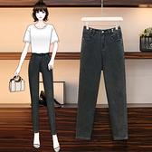 牛仔褲女 高腰 彈力中大尺碼M-5XL直筒寬松胖妹妹哈倫老爹褲女大碼女褲F3F132韓衣裳