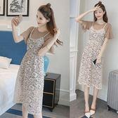 2018新款女夏韓版喇叭袖T恤裙套裝鏤空蕾絲顯瘦吊帶連身裙兩件套  良品鋪子