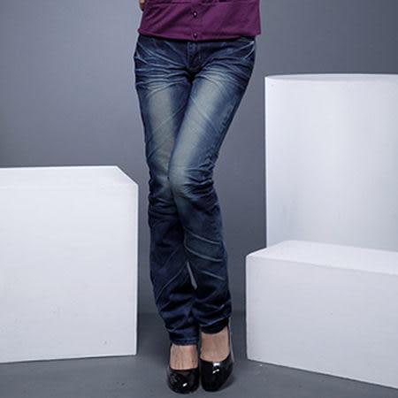 牛仔褲--激瘦!完美曲線定番-勻染藍刷白鬼爪痕假腰帶中腰直筒牛仔褲(M-7L)-N29眼圈熊中大尺碼