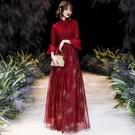 婚紗禮服 新娘敬酒服 2020新款秋冬酒紅色修身顯瘦長款結婚禮服女平時可穿