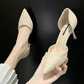 高跟鞋 單鞋女正韓春款法式少女高跟鞋細跟百搭貓跟尖頭工作鞋-Ballet朵朵