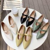 低跟鞋.復古瑪莉珍圓扣鬆緊一字帶尖頭包鞋.白鳥麗子
