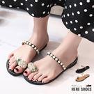 [Here Shoes]涼拖鞋-珠寶鳳梨鞋面 夏日華麗套趾 低跟 拖鞋 涼拖鞋─AWF19