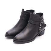 MICHELLE PARK 經典風範 皮帶拉鍊低跟短靴-黑