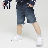 Gap男幼童 柔軟仿牛仔布毛邊短褲 679421-水洗靛藍