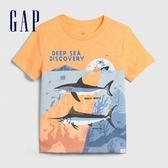 Gap男幼創意印花圓領短袖T恤577620-冰橘色