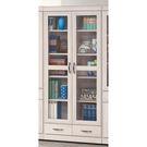 【森可家居】刷白栓木2.6尺下抽書櫃 8SB240-4 玻璃書櫥 收納 木紋質感 北歐風 MIT 台灣製造