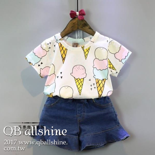 女童上衣 韓版甜美冰淇淋圖百搭短袖T恤 QB allshine