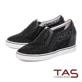 TAS 微透膚鏤空雕花水鑽內增高休閒鞋-性感黑