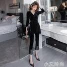 絲絨兩件套裝女2020新款秋裝高冷御姐風黑色洋裝洋氣顯瘦寬管褲 小艾新品