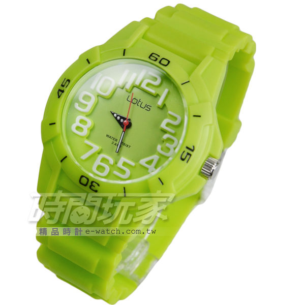 Lotus 時尚錶 輕巧有型數字時刻女錶 中性錶 學生錶 防水手錶 橡膠錶帶 TP2107M-06青綠
