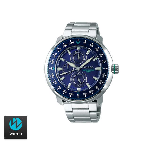 WIRED SEIKO副牌 鮪魚罐藍色三眼鋼帶男錶 45mm 防水200米 AY8035X1 VH67-KHC0B | 名人鐘錶