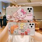 iPhone11ProMax 蘋果手機殼 可掛繩 懶懶熊無嘴貓流沙 矽膠軟殼 iX/i8/i7/SE