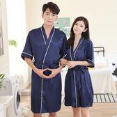 夏季男女日式和服睡衣薄款冰絲綢情侶睡袍兩件套春秋性感浴袍浴衣