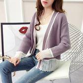 港風毛衣外套女秋復古秋裝寬鬆正韓學生拼接短款針織開衫 巴黎時尚
