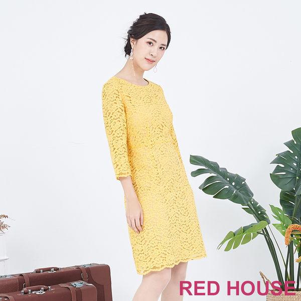 RED HOUSE-蕾赫斯-修身蕾絲洋裝(黃色)