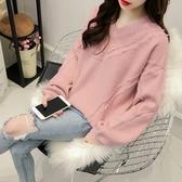 針織衫-V領韓版寬鬆流蘇毛邊女毛衣3色73tp18【巴黎精品】