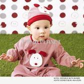 BENNY春夏商品 【mini dog】兩用兔裝含帽子(紅)70-80