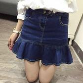 春季上新 高腰荷葉邊牛仔裙女短裙韓版魚尾裙半身裙夏包裙顯瘦包臀裙褲裙