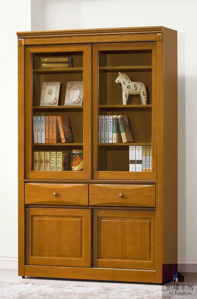 《凱耀家居》查克斯樟木4尺推門中抽書櫃 110-538-4