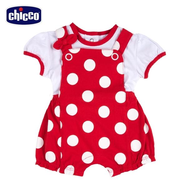 chicco- 小乳牛-兩件式大圓點背帶短褲套裝