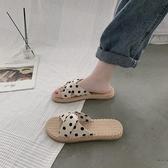 網紅涼拖鞋女外穿2020新款夏天時尚學生百搭ins潮波點平底沙灘鞋 貝芙莉